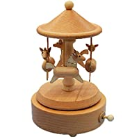 Cotangle-JJ Windup music box Carousel Music Box Birthday Gift Crafts Creative Gifts Wooden Ornaments (Color : Picture Color, Size : 11X11X16CM)