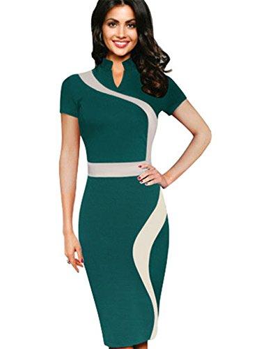 JOTHIN - Robe - Trapèze - Femme Farbe Grün und weiß