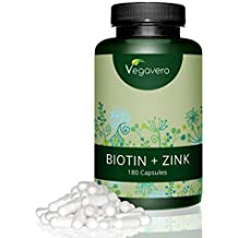 Vegavero Biotina 10.000mcg + Zinc 15mg | SIN ESTEARATO DE MAGNESIO | Caída del Cabello