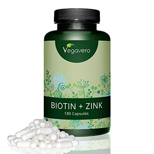 Biotina vegavero | 10.000 mcg | arricchita con zinco | l'unica senza magnesio stearato | crescita capelli – barba – unghie | 180 capsule | vegan