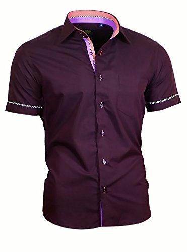 Binder de Luxe Herren Hemd Shirt modern fit mit Brusttasche Kurzarm Kentkragen 840 Dunkel Lila