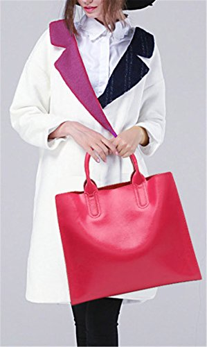 Xinmaoyuan Borse donna borsette in cuoio Big Bag semplice Borsetta tracolla bovini Messenger Tote Bag,Nero Rose Red