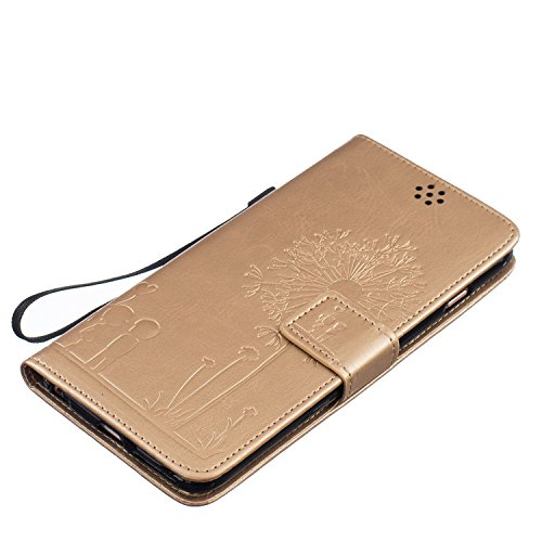 iPhone 6S Coque [avec gratuit 1x protection d'écran et 1x Stylet] Premium PU Cuir Portefeuille Coque pour iPhone 6, CE Flip Folio Couverture de livre de luxe 3d double cœurs Sablier Bling Sparkle Pa Dandelion Gold