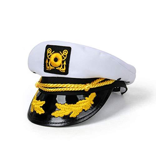Funhoo Yacht Kapitän Hut Verstellbar Marinen Mütze Kappe Matrose Seemann Navy Cap Kostüm Zubehör Party Accessoire - Weiß