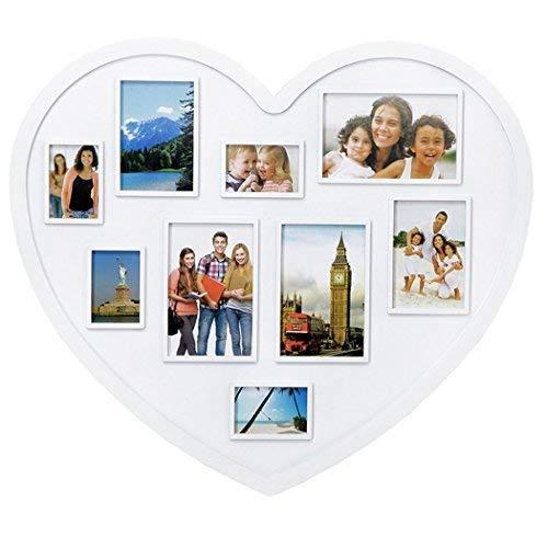 Cornice multipla portafoto cuore pvc bianco 9 posti shabby chic