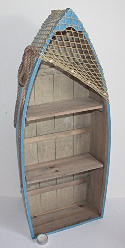 AAF Nommel  Boot Regal 73 x 30 x 11 cm, Kiefernholz, Maritim Dekor im Shabby Look, Nr. 012