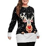 IZHH Damen Sweatshirt, Mode Frohe Weihnachten Schneeflocke Elch gedruckt Top Oansatz Sweatshirt Bluse Santa Claus Schneeflocke Print Sweatshirt Party Outdoor Daily Tops(Schwarz,X-Large)