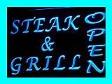 Enseigne Lumineuse i173-b OPEN Steak Grills Bar Cafe Displays Light Sign