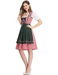 Clearlove Dirndl 3 tlg.Damen Midi Trachtenkleid für Oktoberfest,Stickerei Kleid&Bluse&Schürze, Blau,Schwarz