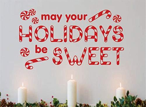 wandaufkleber 3d Wandtattoo Schlafzimmer Feiertage können Ihr süßes Weihnachtszitat-Zuckerstange-Dekorations-Ferienzeit-Ausgangsraum-Dekor-Fenster sein