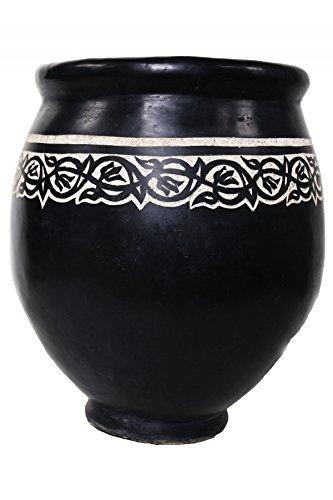 Marokkanischer Orientalischer Tadelakt Blumetopf - Schwarz Gross 76cm