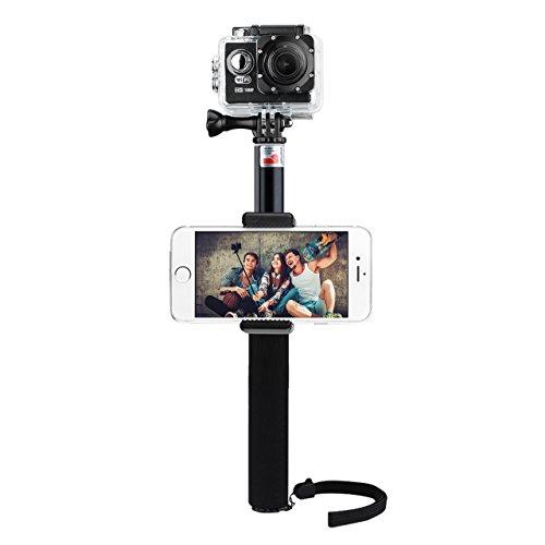 Bastone per selfie, VTIN, impermeabile, monopiede, allungabile e telescopico per GoPro Hero 4, Session, nero, argento, Hero + LCD, 3+, 3, 2, HD e videocamera Sj4000 e Sj5000