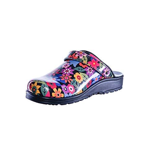 Sanita Footwear Slipper Clogs Hausschuhe, Farbe: Comic Flower, Größe: 39