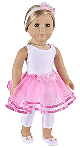 Ebuddy Ballet Dancer Dress Set Include Shoes Hairband Jumpsuit Doll Clothes For 18 inch American