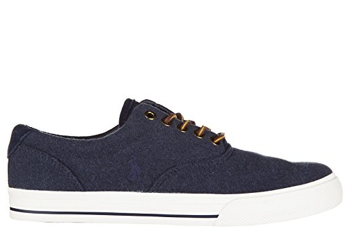 Polo Ralph Lauren Chaussures Baskets Sneakers Homme en Coton Vaughn Blu