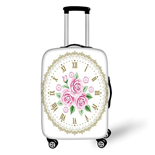 Travel Luggage Cover Suitcase Protector,Shabby Chic Decor,Vintage Clock Face Roses Roman Numbers Antique Vintage Decorative,Light Pink Green Dark Khaki,for Travel