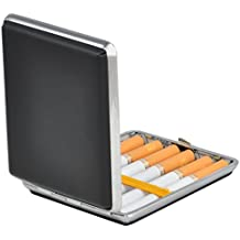 Itian Leather Cigarette Storage Case Holder Metal Frame Press Button