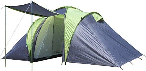EXPLORER Zelt Sierra 4 Familienzelt mit 2 Schlafkabinen 420(140x140x140)x210x180cm 2+2 Personen 3000mm Wassersäule Ring Pin System wettergeschützter Eingang Camping Outdoor Wandern Familie (Zelt Explorer 2)