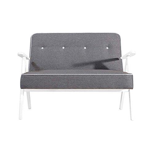 Mirjan24  Sofa Adel 2, Zweisitzer Relaxsofa vom Hersteller, Polstermöbel, Retro Couch, Farbauswahl, Couchgarnitur Sofagarnitur (Softi 11 + Softi 08, Holzfarbe: Buche Weiß) -