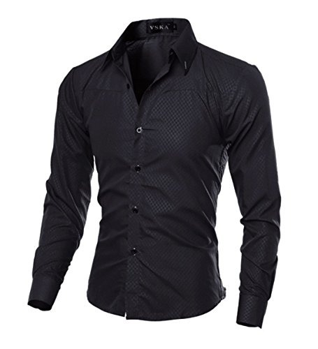 Men's Fancy Bargain Elegant Long Sleeve Casual Dress Shirts Black