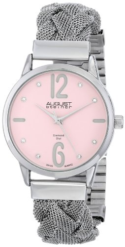 August Steiner Women's AS8092PK Swiss Quartz Diamond Accent Pink Dial Stainless Steel Braided Mesh Bracelet Watch