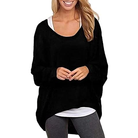 Pull Femme Chauve manches lâche chandail 2016 Hiver Pullover Casual Top Blouse (S-Buste:41.7