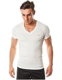 "Diesel ""JESSE CLASSIC DEEP T-Shirt col V Shirt"", Blanc"