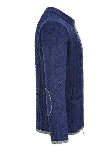 Almbock Strickjacke Herren Navy | Strickjacke XXL mit Reißverschluss | Trachten Strickjacke in Blau Größe XXL - 2