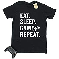 Men's Eat. Sleep. Game. Repeat.100% Organic Soft Crew Neck Cotton Gamer T-Shirt (+19 Shirt Colours) (Small-2XL)