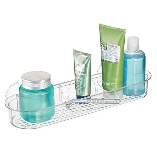 iDesign Basic Duschablage ohne Bohren, lange Badablage mit Saugnäpfen aus Kunststoff, durchsichtig