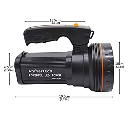 Ambertech Rechargeable 7000 Lumens Super Bright LED Searchlight Spotlight Flashlight Torch Lantern With Sharp Light 2