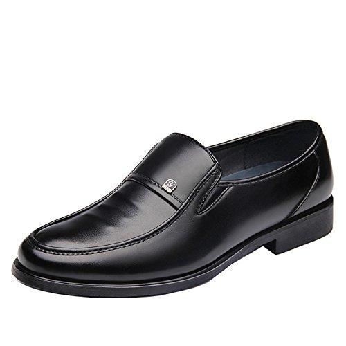 Gaorui Herren Business-Schuhe Leder Halbschuhe Formell Lederschuhe Slipper Schwarz Schwarz