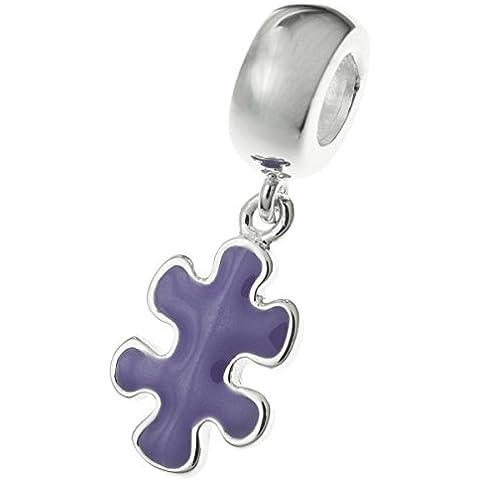 Argento Sterling 925autismo consapevolezza Puzzle Game piece smalto viola per braccialetti Charm per braccialetti