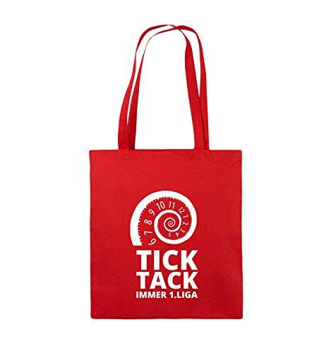 Comedy Bags - TICK TACK IMMER 1.LIGA - SPIRALE - Jutebeutel - lange Henkel - 38x42cm - Farbe: Schwarz / Pink Rot / Weiss