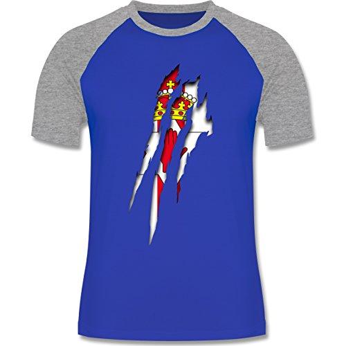 Länder - Nordirland Krallenspuren - zweifarbiges Baseballshirt für Männer Royalblau/Grau meliert