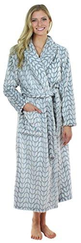 iger, langer Morgenmantel aus Fleece für Damen Grau Blätter (SHP1400-4061-EU-SML) (Damen-bademantel Aus Plüsch)