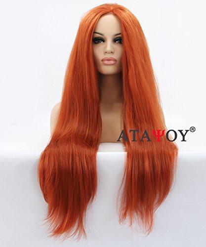 ATAYOU®Damen Orange Perücke klebefreien Lace Front perücken24