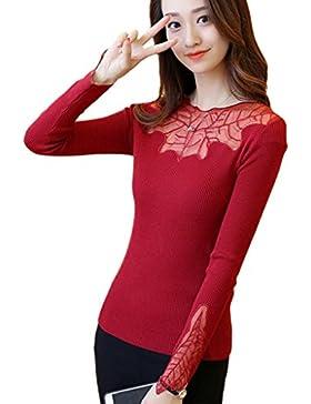 Minetom Mujer Nuevo Prendas De Punto Otoño Tramo Suéteres Jumpers Hojas Cordón Patrón Tops Manga Larga Sweaters