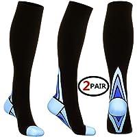 (2 Pares) Calcetines/Medias de Compresi¨n para Hombres y Mujeres Mejor ¡ (Blue L/XL (For Women 6.5-13 /For Men 8-13.5) 2 Same Pair)