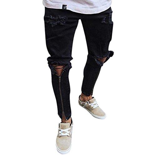 Malloom® Mode Neue Sommer Loch Mens Zerrissene Slim Fit Motorrad Vintage Denim Jeans Reißverschluss Streetwear PantsWork Casual Hosen