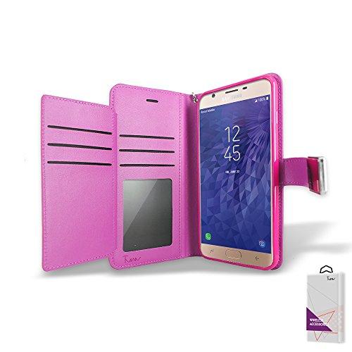 Für Samsung Galaxy J7Verfeinern Fall, Samsung Galaxy J7Star 2018Fall, durch [T Man] Leder [Double] Wallet Card Slots Cover Fall für Samsung Galaxy J7Verfeinern/J7Star/sm-j737, Rose (Wireless Card Cricket Phone)