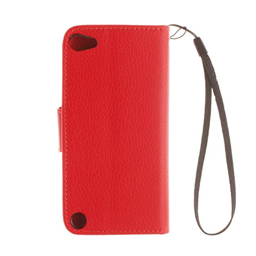"MOONCASE iPhone 6S Plus Coque, Litchi Skin Portefeuille Housse en Cuir Etui à rabat pour iPhone 6 Plus / 6S Plus 5.5"" Bookstyle [Cadre Photo] [Antidérapant] TPU Case avec Béquille Orange Rouge"
