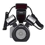 YONGNUO YN24EX E-TTL, Speedlite Flash per Macro, 5600 K, con due Teste Flash e 4 Anelli Adattatori, per Canon