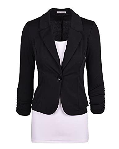 Women's Blazer Tailored Suit Coat Jacket Long Sleeve One Button