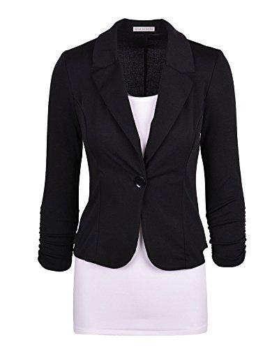 Business Damenblazer Jacke Kurze Jacke Freizeit Oberteile Slim Fit Langen Ärmeln Schwarz 2XL
