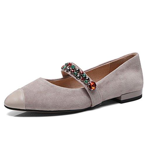 YYHSND Flache beiläufige Schuhe der Frauen Flache Farbe Rhinestone-Art und Weisegurt beiläufige Schuhe Gericht Schuhe hohe Absätze 34-39 Yards Frauen Schuhe (Color : Khaki, Size : 36 EU) -
