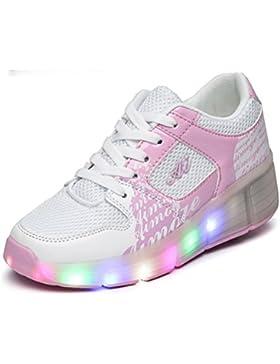 PAMRAY LED Wheelies zapatos niños Heelys zapatillas con ruedas para niñas niños ajuste para todo el año mejor...