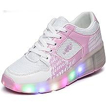 PAMRAY LED Wheelies Zapatos niños Heelys Zapatillas con Ruedas para niñas niños Ajuste para Todo el