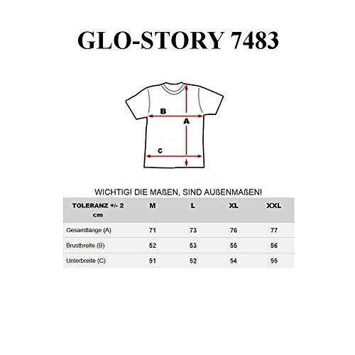 BOLF Herren T-shirt Figurbetont Kurzarm Men's Männer Rundhalsausschnitt Toll Tee O-Neck Print Motiv Weiß Schwarz Grau 7483 Schwarz