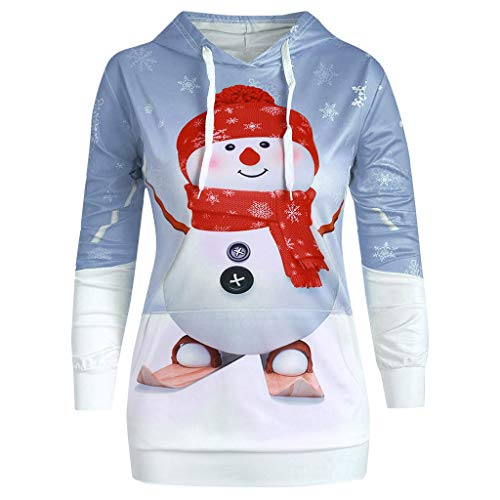 Damen Weihnachten Sweatshirt Hoodie Christmas Big Pocket Cartoon Schneemann Print Pullover Top
